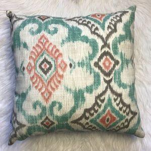 Pillow perfect aqua coral boho print throw pillow